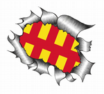 Ripped Torn Metal Design With Northumberland County Flag Motif External Vinyl Car Sticker 105x130mm